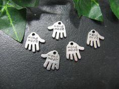 10 Metallanhänger, Hand Made, 1,3x13cm, Bettelarmband, Anhänger für Handarbeit