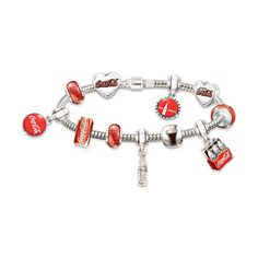 Coca-Cola 125th Anniversary Celebration Bracelet With Interchangeable... ($129) ❤ liked on Polyvore featuring jewelry, bracelets, vintage jewelry, fine jewelry, charm bangle, heart charms and vintage bracelet