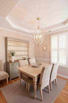Lovely modern cottage style dining room design with soft grays and pinks.