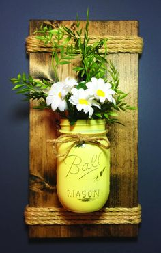 Pint Mason Jar Wall Sconce, Pine, Wood, Wedding, Wall Decor, Shabby Chic, Occasions, Farmhouse, Sconce, Rustic Home Decor by HawleyWoodworks on Etsy