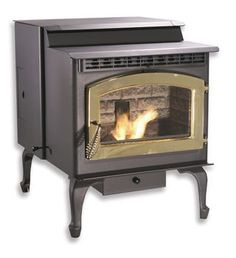 Breckwell Hearth Products The Maverick Deluxe Freestanding Pellet Stove (Gold Door) - new, older stock - limited quantities available.A Value Priced Pellet Stove With All the Features. Come Home to the Warmth! Breckwell Pellet Stove, Rv Wood Stove, Pellet Stove Inserts, Wood Pellet Stoves, Gas Stove, Camper Stove, Wood Furnace, Wood Pellets, Brushed Nickel
