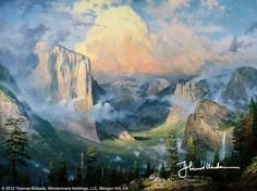 """Yosemite Valley by Thomas Kinkade 1992  """"This painting depicts the Yosemite Valley as seen from a little known place called 'Artist's Point', named in tribute to the many 19th century artists who favored it as a sketching ground. In 1989, the National Park System selected Yosemite Valley as their official print.""""  — Thomas Kinkade"""