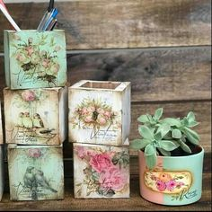 Adult Crafts, New Crafts, Diy Crafts To Sell, Wood Crafts, Shabby Chic Embellishments, Painted Plant Pots, Barbie Miniatures, Paisley Art, Clay Flower Pots