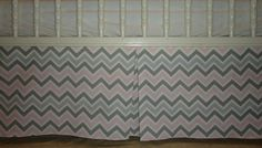 Chevron Zig Zag Two Shades Of Grey ,  Light Pink  and white Crib Skirt Tailored,  Box-Pleat or flat Baby Crib Skirt. Free Shipping