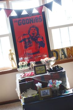 Goonies Themed Party. LOVE this idea so much more than the standard pirate themed party! More Goonies party ideas, and many other themed party ideas in my Party Inspiration board!