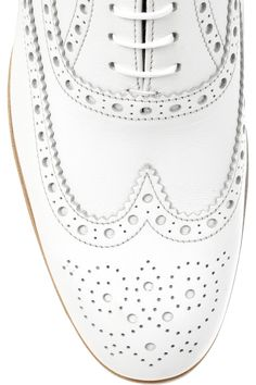 White leather lace-up brogues with a heel that measures approximately / 1 inch. Church's brogues have an almond toe, classic wingtip detailing with punched patterns throughout and a tan leather sole. Leather Brogues, Leather Shoes, Leather And Lace, White Leather, Cole Haan, Eye Candy, Oxford Shoes, Dress Shoes, Lace Up