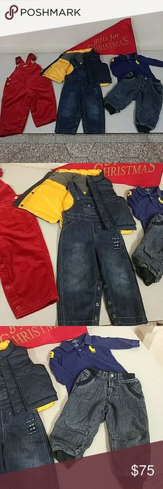 Designer baby boy BUNDLE Ralph Lauren Gap foreign Baby GAP outerwear puffer vest  Baby GAP holiday velvet overalls  Ralph Lauren POLO logo polo shirt  Foreign denim jeans with zippered fly and snap plus fun pocket and hemline details  Foreign striped denim overalls  18-24 months  Excellent condition!! Jackets & Coats Puffers