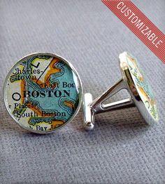 Sterling Silver Custom Map Cufflinks