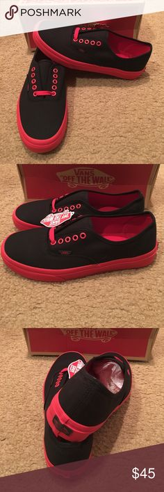 Authentic Pop Outsole Vans New in box. Black/racing red Vans Shoes Sneakers