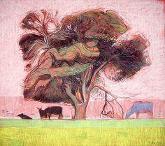 Shaun Tan - The blue cow, pastel A2, 2009, Bundanon Trust Collection