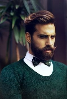 Handsome dark-haired men with great facial hair and bow ties.  #SWOON