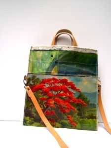 awesome bags made out of vintage paintings sourced in Holland- available on line at swar