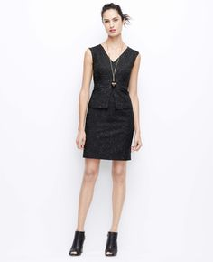 Slubbed Peplum Sheath Dress | Ann Taylor