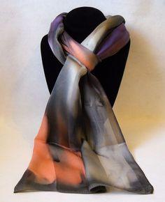 Hand Painted Silk Scarf Peach Orange Grey Purple Oblong Unique Hair Neck Gift  #Handpainted #Silk #Scarf