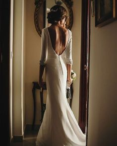 Open back wedding Dress with 3/4 Sleeves #weddingdress #weddingdresses #openbackweddingdress