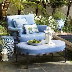 Blue Heaven of serenity … in a place to call your own - Carlisle Cuddle Chair, Bermuda Breeze Indigo Pillow, Roaming Elephants Lumbar Pillow, Pagoda Lantern, ceramic garden stool/table
