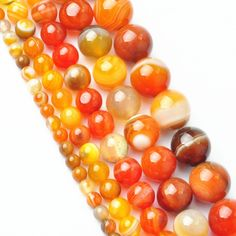 LNRRABC 4MM 6MM 8MM 10MM 12MM Natural Orange Striped Stones Round Spacer Loose Beads Perline Necklace Bracelet Charms Jewelry