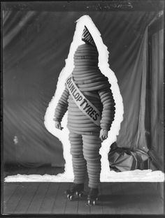 Dunlop Tyre Man figure in rubber costume, on roller skates, Ref: Photograph taken by the Steffano Webb Photographic Studio, Christchurch Tired Man, Man Figure, Photographic Studio, Vintage Market, Historical Costume, Skates, Fancy Dress, New Zealand, Costumes