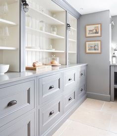 All the English Countryside Kitchen feels here! Traditional cabinetry and open shelving with beadboard gives this gray kitchen so much charm. Design by: Humphrey Munson Kitchens Kitchen Pantry, New Kitchen, Kitchen Decor, Kitchen Ideas, Pantry Ideas, Kitchen Rustic, Kitchen Designs, Room Kitchen, Pantry Room