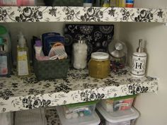 Fake-It Frugal: DIY Wire Shelf Liner- using contact paper to cover wire shelving ! Awesome!