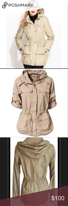 Michael by Michael Kors Cargo Jacket Anorak Michael by Michael Kors Cargo Jacket Anorak Size XS  0 - 2  • Authentic! • New with tags $150.00 • 100% Cotton - woven • Khaki - beige tan • Attached hood • Zip front • Adjustable cinched waist • 2 Chest - 2 Hip pockets • 3/4 Tab long sleeves • Un-lined  Please checkout my feedback and other listings. High end designers at great prices  Thank you for looking! MICHAEL Michael Kors Jackets & Coats