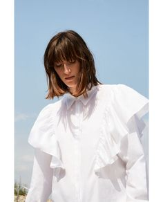 OVERSIZED BLOUSE WITH FRILL