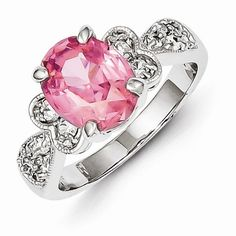 Sterling Silver Pink Oval CZ Ring