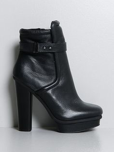 """fairy boots black - Fairy Boots in Black by Kelsi Dagger • Heeled black leather boot • 5"""" heel with .5"""" platform • Button strap closure"""