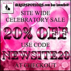 Site wide 20% OFF to celebrate the launch of www.MRSPSPOTIONS.com!  To and including October 18!  Use code NEWSITE20 at checkout