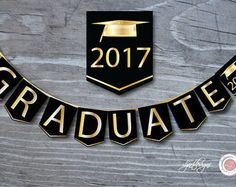 Black and Gold Graduation Banner Graduate Bunting Flags Graduation Banner, Graduation Year, Preschool Graduation, Graduation Decorations, Graduation Centerpiece, Party Supplies, Craft Supplies, Bridal Shower Scrapbook, Congratulations Graduate