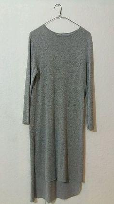 Vestido gris largo tipo suéter