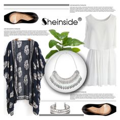"""""""Floral Loose Kimono with Sheinside"""" by antemore-765 ❤ liked on Polyvore featuring Chicwish, INC International Concepts, Sergio Rossi and vintage"""
