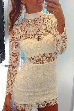 Long Sleeves Hollow-Out White Sheath Mini Dress