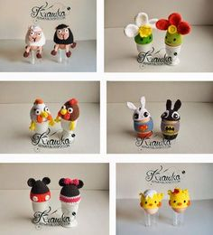 Krawka: Easter egg cozies/ egg warmers. Great as an original table decoration. Free patterns for chicks, hens, mickey mouse and Minnie mouse, superhero bunnys, sheeps