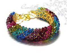 Items similar to Crystal Bracelet; Multi-color Swarovski Crystal Bracelet with gold clasp by CandyBead - Best seller on Etsy Seed Bead Bracelets, Crystal Bracelets, Crystal Beads, Swarovski Crystals, Beaded Bracelet Patterns, Beaded Jewelry, Swarovski Bracelet, Bracelet Tutorial, Bead Crafts