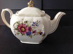 Vintage Sadler England Small Cube Floral Teapot Tea for One