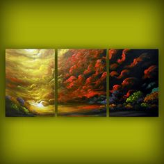 large art abstract landscape painting folk art red by mattsart, $369.00