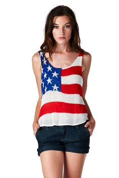 0f0e07d5832  The Classic Brand  Multi American Flag Knit Tank Top Us Independence Day