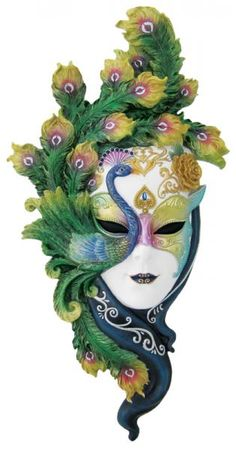 Peacock Mask--imagine with fresh cut flowers--gorgeous