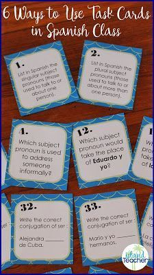 Use subject pronoun and ser task cards for speaking or writing activities or games in Spanish class. Includes 40 cards and 2 blank cards. Spanish Lessons For Kids, Spanish Basics, Spanish Lesson Plans, Learn Spanish, Spanish 1, Spanish Games, Spanish Online, Study Spanish, Speak Spanish
