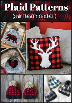 Sweet plaid patterns that are CROCHETED!!! I love these! Perfect for fall and winter! I need to make me one of these hats!!! #crochet #patterns #plaid #buffaloplaid #hat #toque #beanie #etsy #craftevangelist