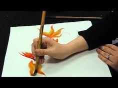 Chinese brush painting basics - gold fish