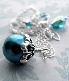 Aqua Glass Pearl Pendant Necklace with Silver Chain by ShySiren, $36.00