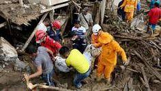 05/04/2017 Modderstromen in Colombia eisen al 290 doden. Zuid Amerika Colombia weer / klimaat : Na zware modderstromen in het Zuidwesten van Colombia zijn zeker 290 doden en 332 gewonden geteld.  Er zijn meer dan 200 mensen vermist en 500 tot 600 gezinnen zijn in opvangcentra ondergebracht.