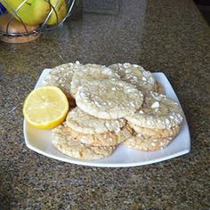 The Best Lemon Cookies - substitute canola oil and they are soy free and dairy free. Cookie Desserts, Just Desserts, Cookie Recipes, Delicious Desserts, Dessert Recipes, Yummy Food, Fun Food, Yummy Treats, Sweet Treats