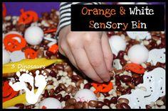 Orange & White Halloween Sensory Bin - 3Dinosaurs.com