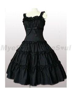 Manches courtes noir coton Lolita Dress