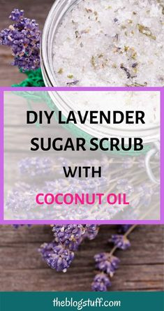 this amazing DIY sugar scrub for face, neck and hands. With lavender and lemon essential oils for clear and glowing skin.Make this amazing DIY sugar scrub for face, neck and hands. With lavender and lemon essential oils for clear and glowing skin. Sugar Scrub For Face, Sugar Scrub Recipe, Sugar Scrub Diy, Diy Scrub, Sugar Scrubs, Lavender And Lemon, Lavender Sugar Scrub, Recipes With Lavender, Coconut Oil Sugar Scrub