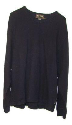 Eddie Bauer Mens Navy Blue Ribbed 100% Cotton Long Sleeve V Neck Sweatshirt L #EddieBauer #SweatshirtCrew
