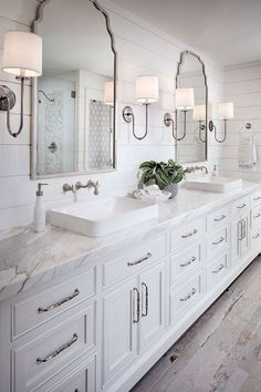Shiplap Bathroom Wall With White Cabinetry, White Marble Countertop, Wall  Mount Faucet And Rustic Looking Floor Tile. ...